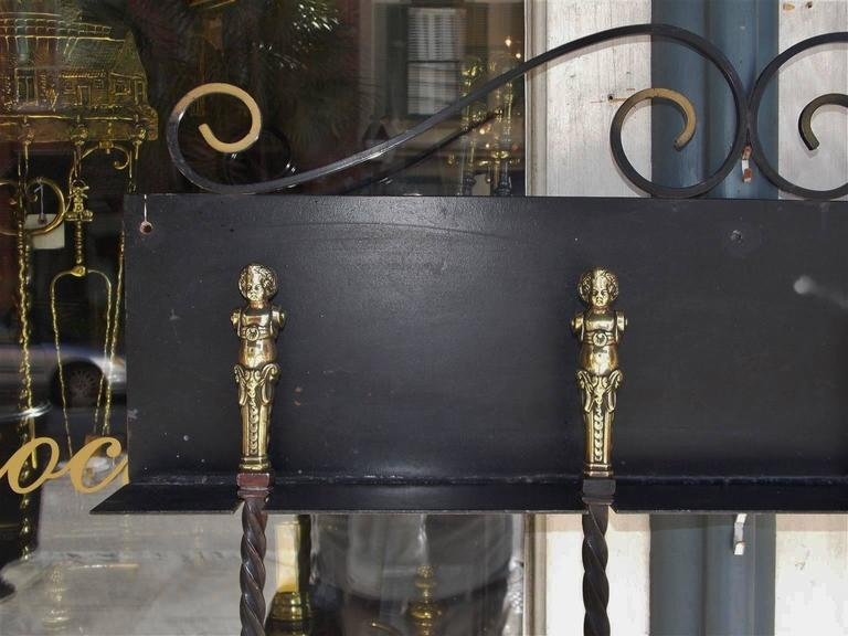 Late 18th Century Set of Four Italian Brass and Wrought Iron Fire Tools on Bracket, Circa 1780 For Sale