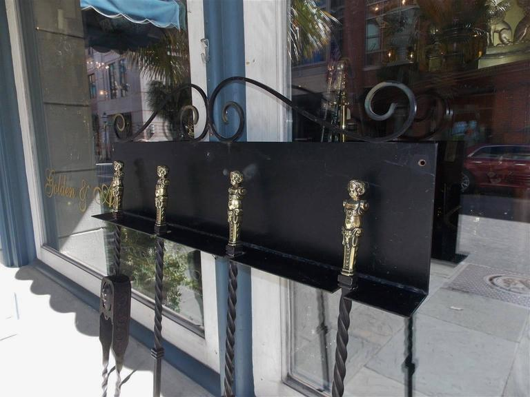 Set of Four Italian Brass and Wrought Iron Fire Tools on Bracket, Circa 1780 For Sale 1