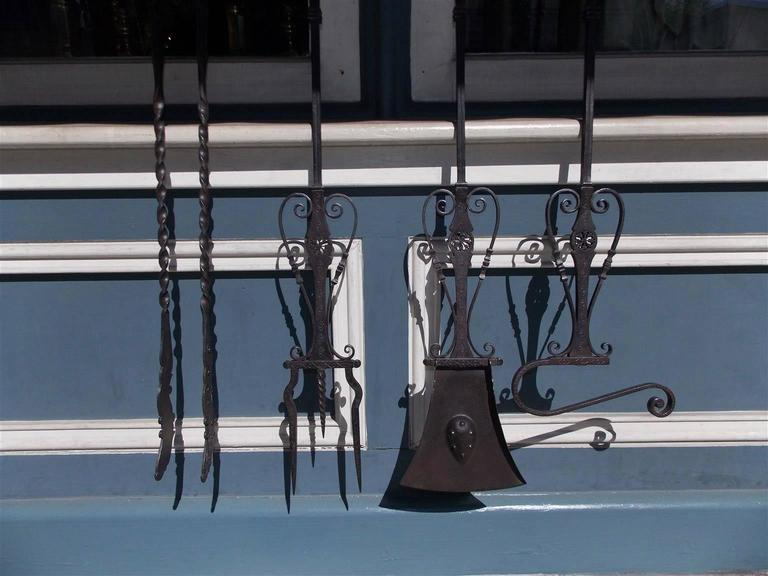 Set of Four Italian Brass and Wrought Iron Fire Tools on Bracket, Circa 1780 For Sale 3