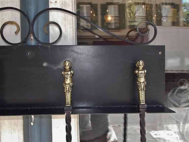 Set of Four Italian Brass and Wrought Iron Fire Tools on Bracket, Circa 1780 For Sale 2