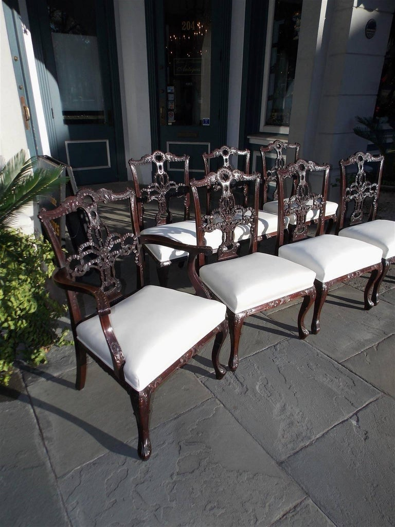 Hand-Carved Set of Eight English Chippendale Mahogany Dining Room Chairs, Circa 1760 For Sale