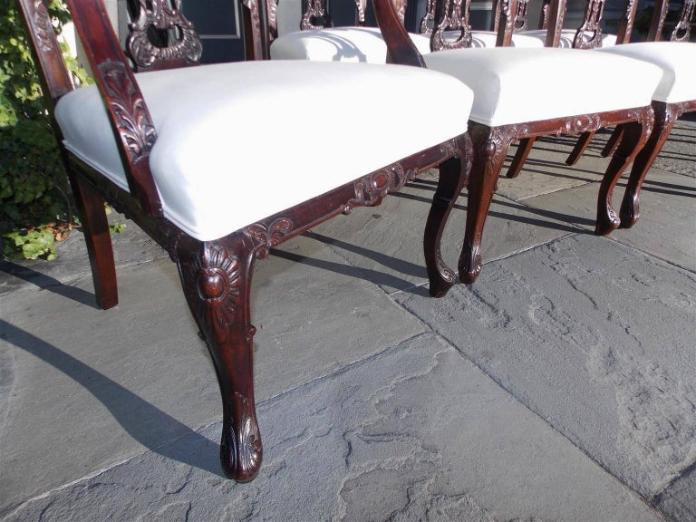 Set of Eight English Chippendale Mahogany Dining Room Chairs, Circa 1760 For Sale 4