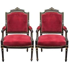 Pair of French Napoleon III Ebonized Armchairs