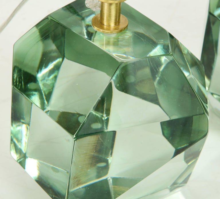 Pair of Light Green Faceted Lamps, Italy, Signed For Sale 2