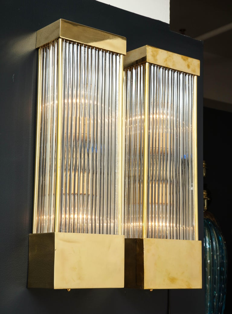 Italian Large Pair of Brass and Murano Glass Rectangular Sconces, Italy For Sale