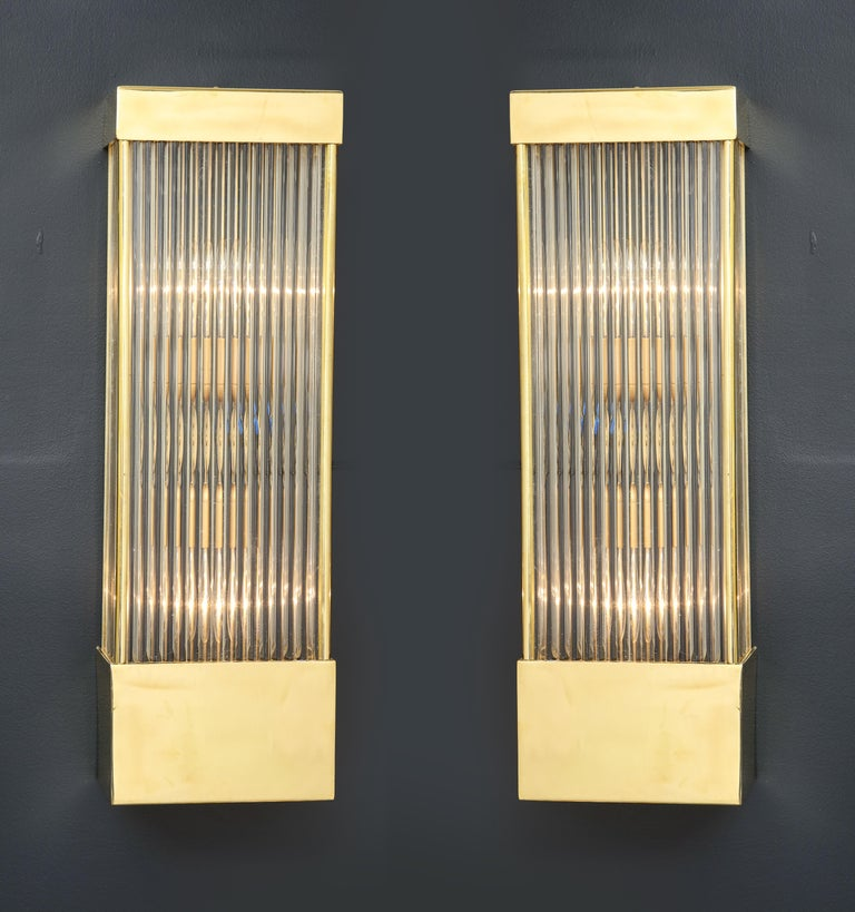 Large Pair of Brass and Murano Glass Rectangular Sconces, Italy For Sale 1
