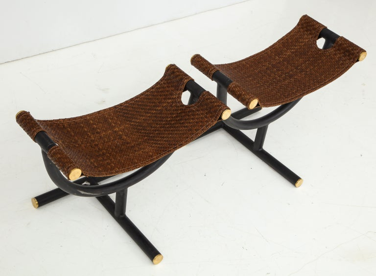 Pair of Woven Leather and Steel with Brass Stools, Italy, circa 1980 For Sale 1