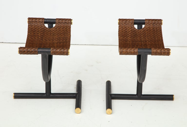 Italian Pair of Woven Leather and Steel with Brass Stools, Italy, circa 1980 For Sale