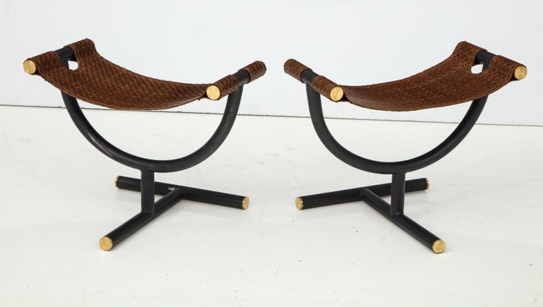 Pair of Woven Leather and Steel with Brass Stools, Italy, circa 1980 In Good Condition For Sale In New York, NY