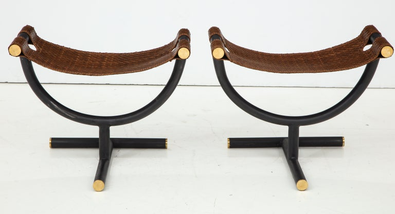 20th Century Pair of Woven Leather and Steel with Brass Stools, Italy, circa 1980 For Sale