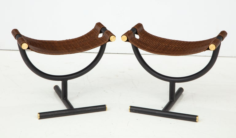 Pair of Woven Leather and Steel with Brass Stools, Italy, circa 1980 For Sale 3