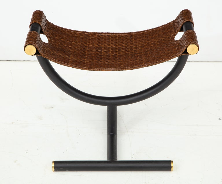 Pair of Woven Leather and Steel with Brass Stools, Italy, circa 1980 For Sale 6