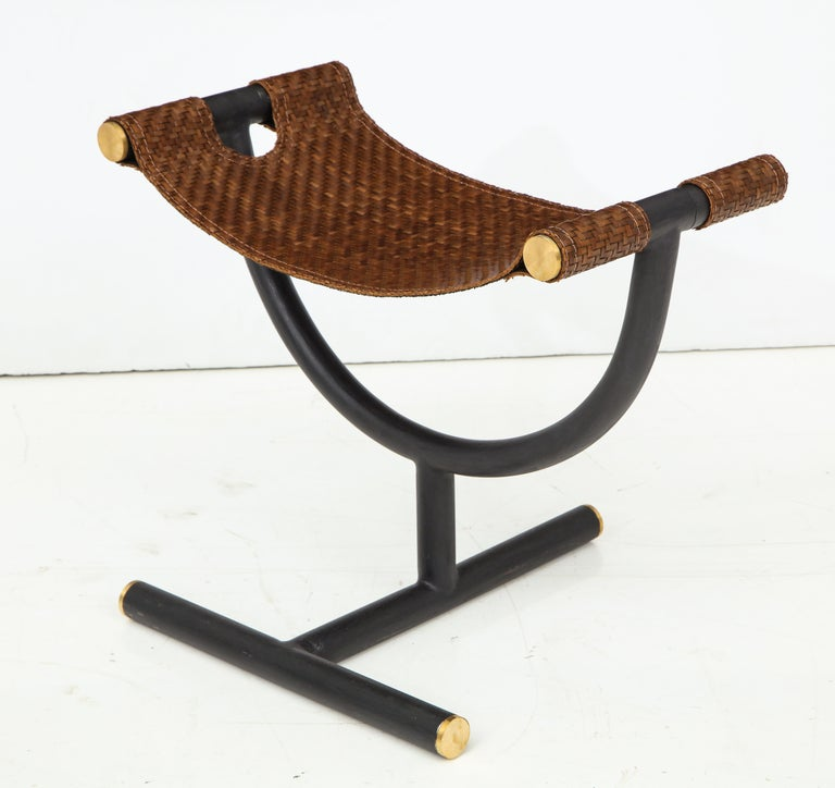 Pair of Woven Leather and Steel with Brass Stools, Italy, circa 1980 For Sale 8