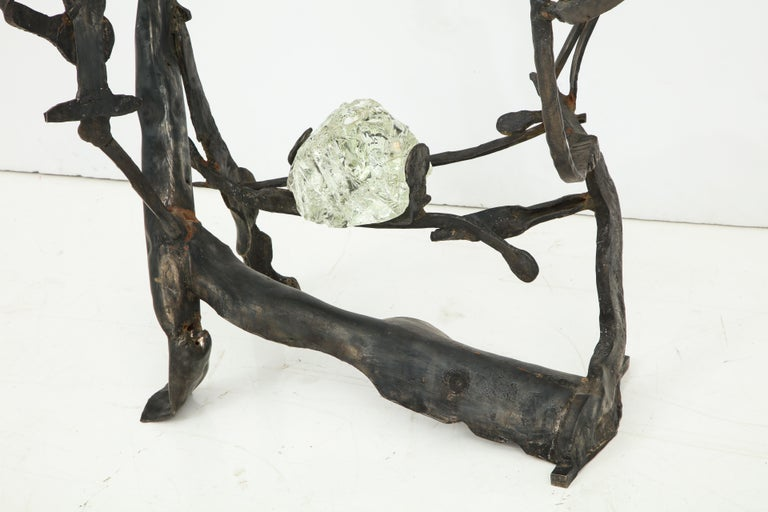 One of a Kind Handcrafted Iron and Glass Sculptural Brutalist Console, Italy In Good Condition For Sale In New York, NY