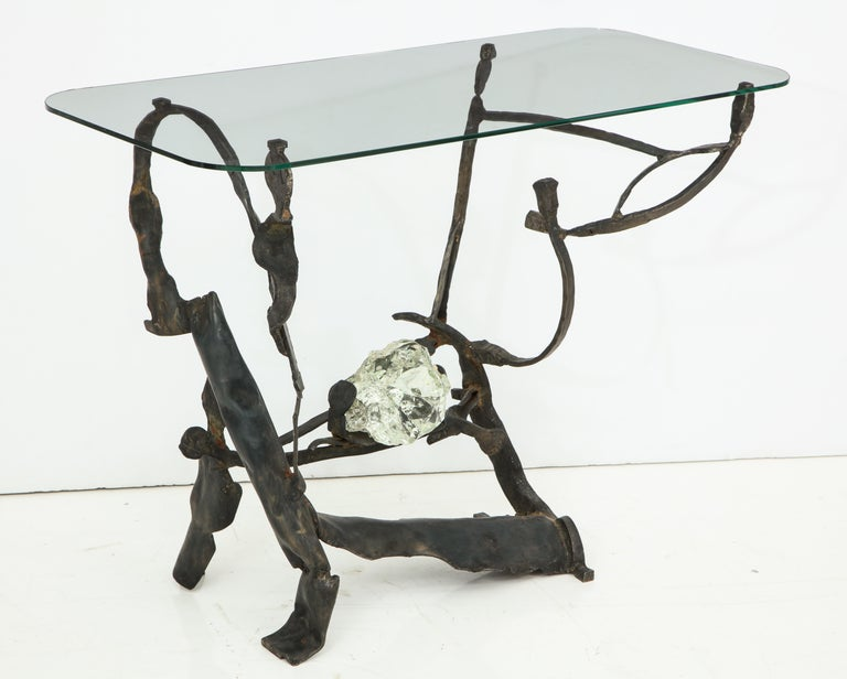 One of a Kind Handcrafted Iron and Glass Sculptural Brutalist Console, Italy For Sale 4