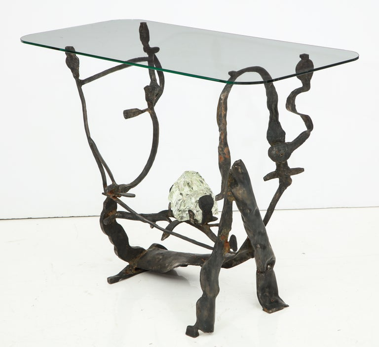 One of a Kind Handcrafted Iron and Glass Sculptural Brutalist Console, Italy For Sale 9