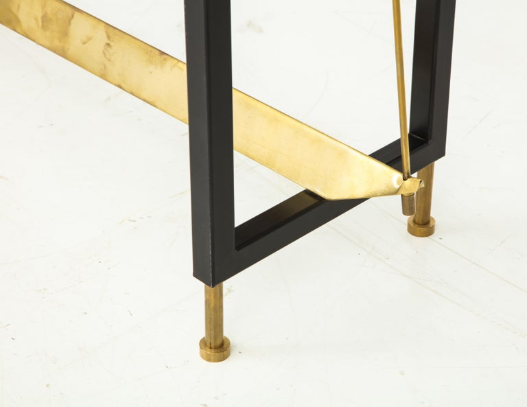 Hand-Crafted One of a Kind Custom-Made Linear Brass and Iron Console, Italy For Sale