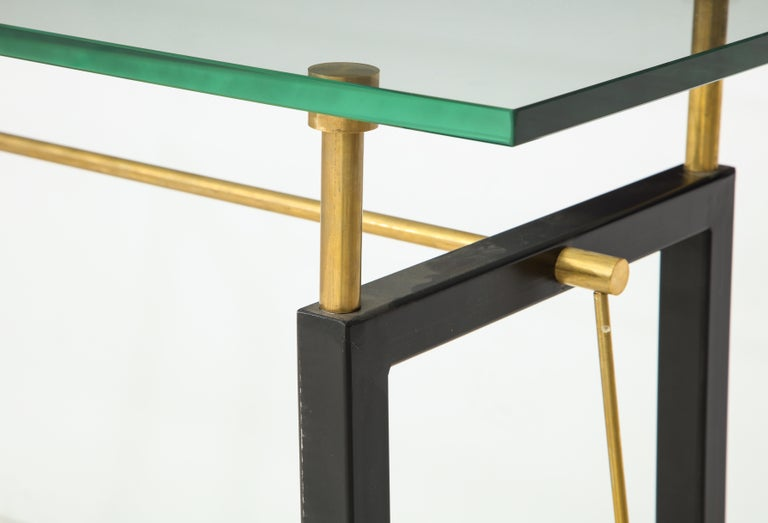 One of a Kind Custom-Made Linear Brass and Iron Console, Italy In Excellent Condition For Sale In New York, NY