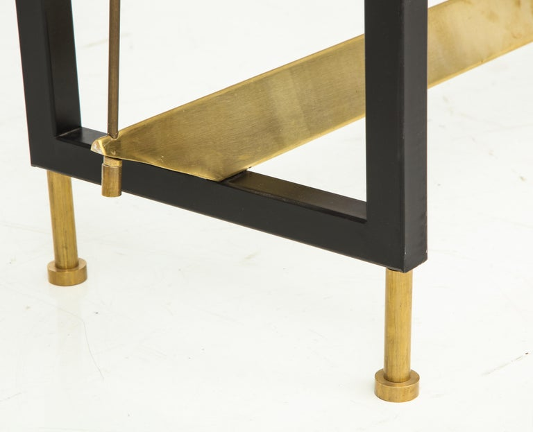 One of a Kind Custom-Made Linear Brass and Iron Console, Italy For Sale 2