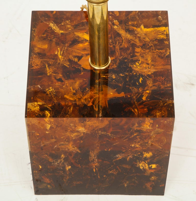 Rare Pair of Fractal Resin Lamps with Black and Gold Shades, Italy For Sale 2