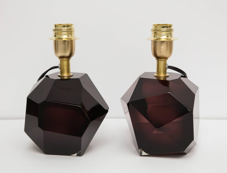 Pair of Solid Amethyst Murano Glass Lamps In Excellent Condition For Sale In New York, NY