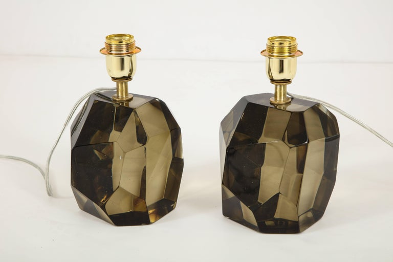 Italian Pair of Solid Smoke Taupe Murano Glass Lamps For Sale