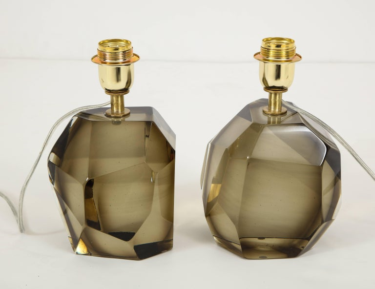 Hand-Crafted Pair of Solid Smoke Taupe Murano Glass Lamps For Sale