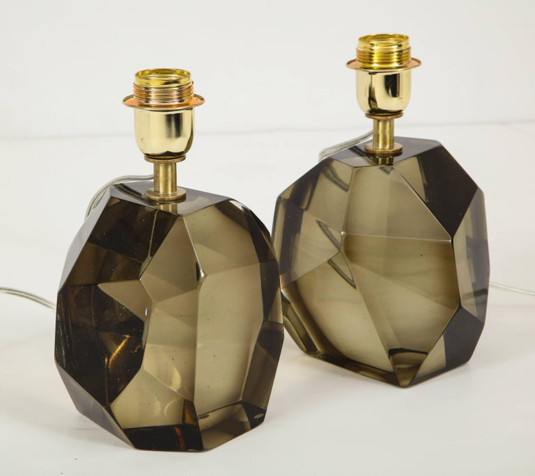 Pair of Solid Smoke Taupe Murano Glass Lamps For Sale 4