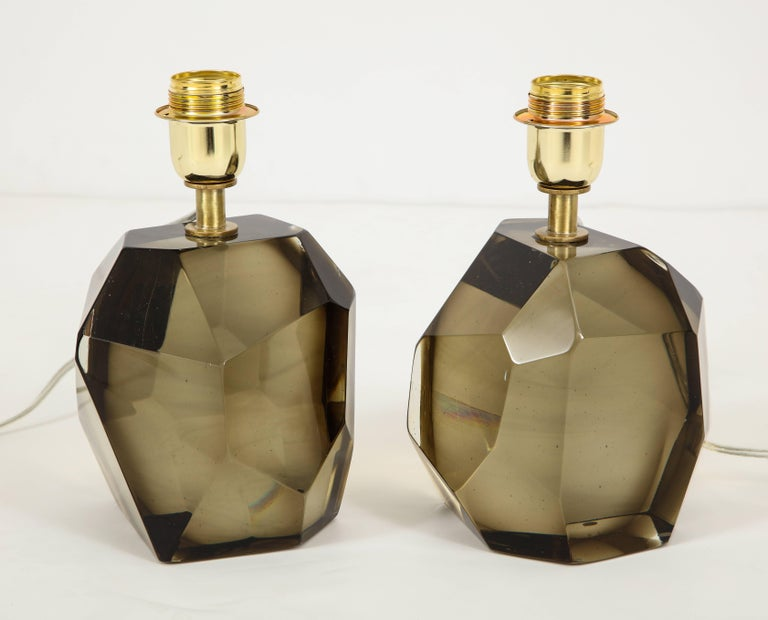 Pair of Solid Smoke Taupe Murano Glass Lamps For Sale 6