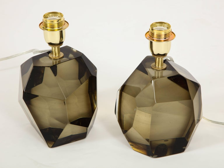 Pair of Solid Smoke Taupe Murano Glass Lamps For Sale 7