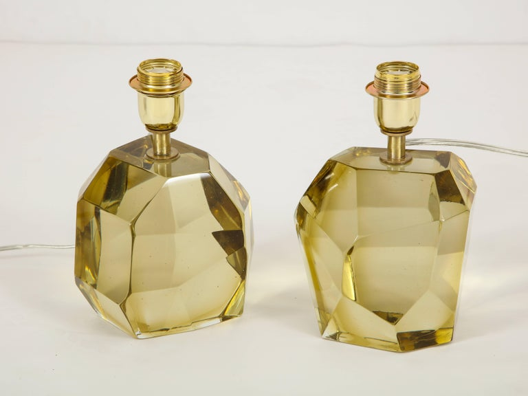 Italian Pair of Solid Citrine Jewel Murano Glass Lamps, Signed For Sale