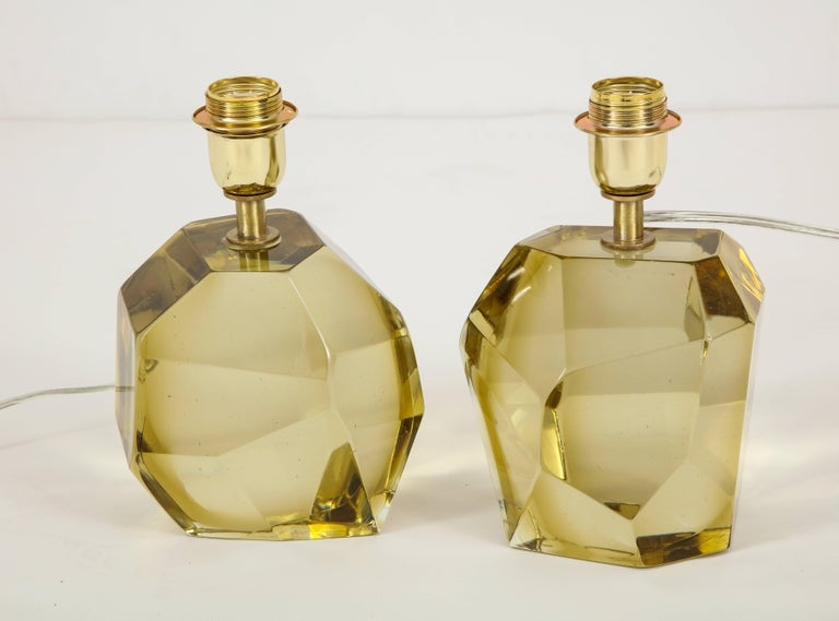 Pair of Solid Citrine Jewel Murano Glass Lamps, Signed In Excellent Condition For Sale In New York, NY