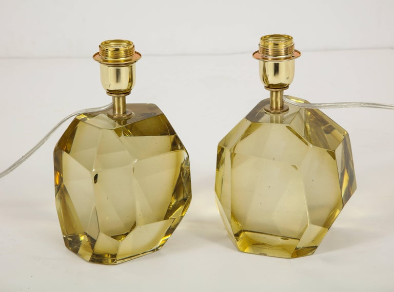 Contemporary Pair of Solid Citrine Jewel Murano Glass Lamps, Signed For Sale