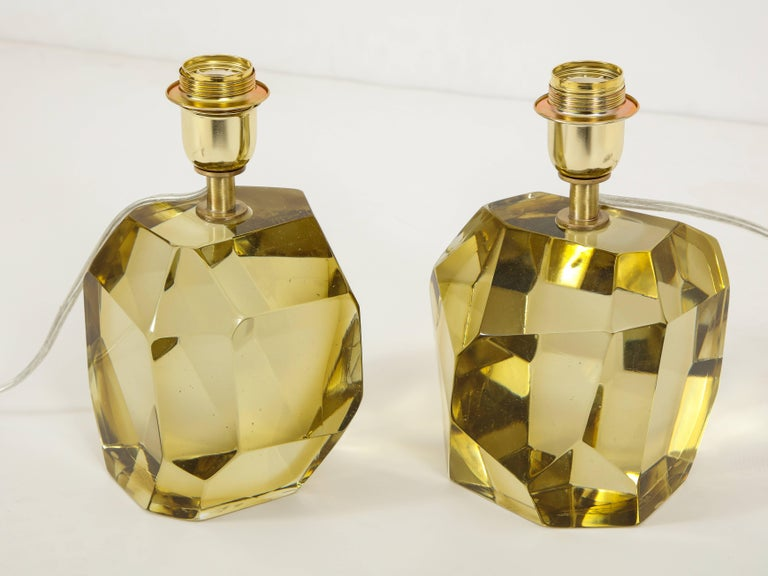 Pair of Solid Citrine Jewel Murano Glass Lamps, Signed For Sale 3