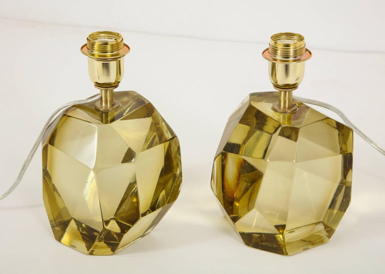 Pair of Solid Citrine Jewel Murano Glass Lamps, Signed For Sale 2