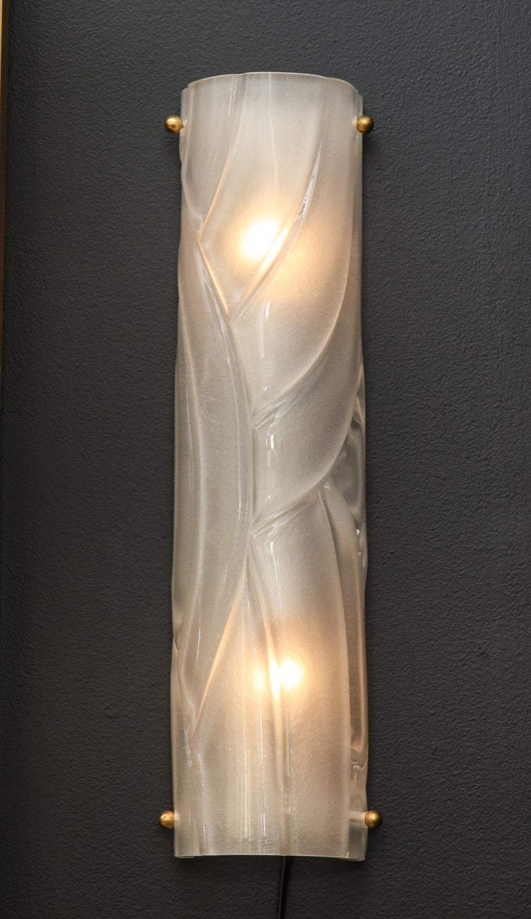 Italian Pair of Midcentury Translucent White Murano Glass and Brass Sconces, Italy For Sale