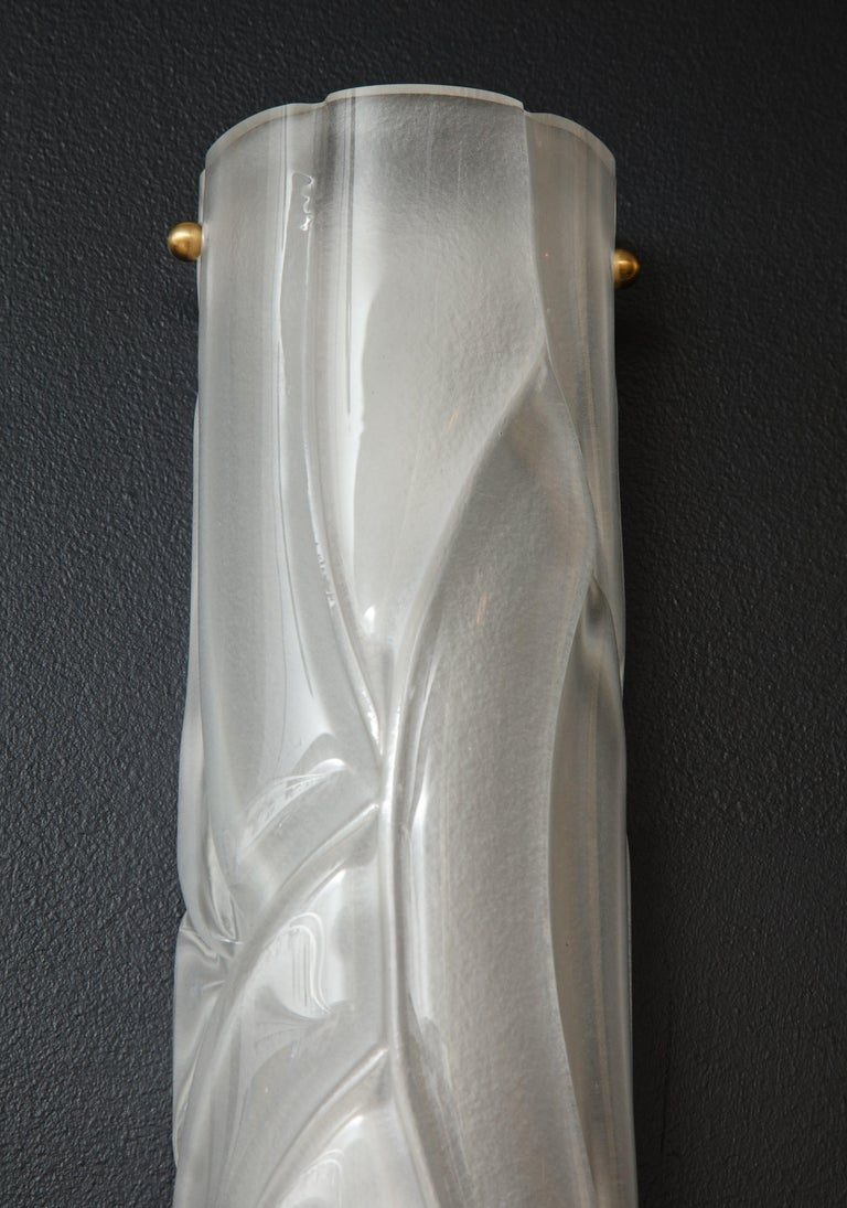 Pair of Midcentury Translucent White Murano Glass and Brass Sconces, Italy For Sale 2