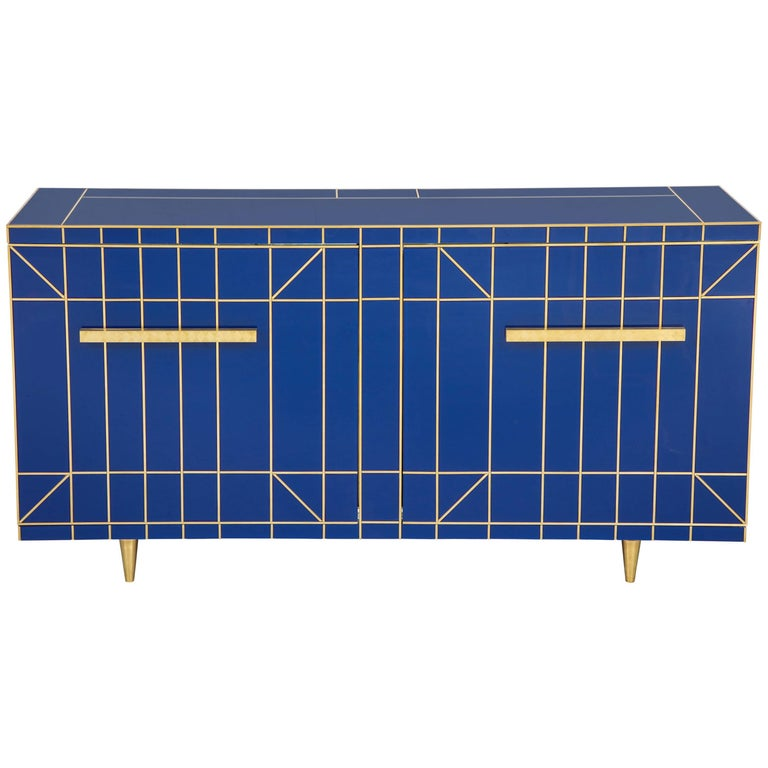 Cobalt Blue Glass with Brass Inlay Mirrored Sideboard, Spain, Signed For Sale
