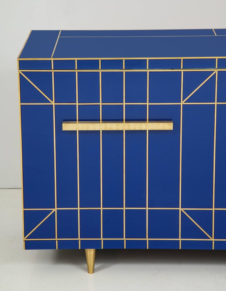 Modern Cobalt Blue Glass with Brass Inlay Mirrored Sideboard, Spain, Signed For Sale