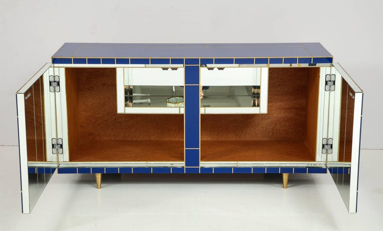 Contemporary Cobalt Blue Glass with Brass Inlay Mirrored Sideboard, Spain, Signed For Sale