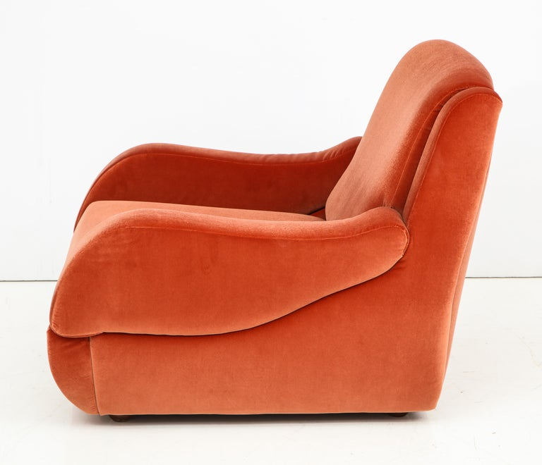 20th Century Pair of 1960s Ico Parisi Style Sculptural Italian Lounge Chairs in Rust Velvet For Sale