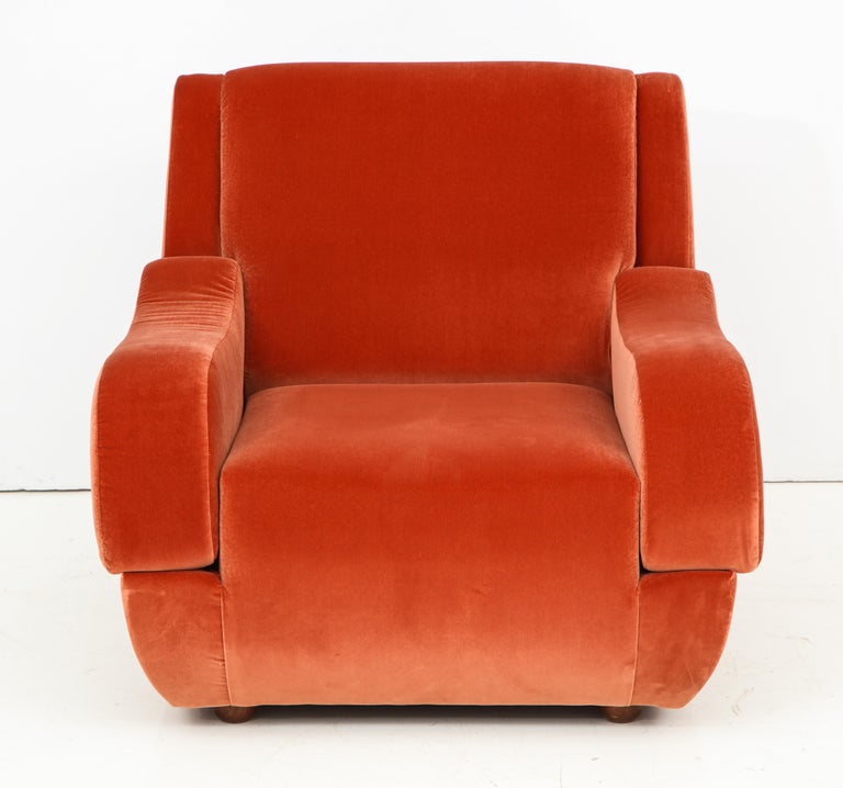 Pair of 1960s Ico Parisi Style Sculptural Italian Lounge Chairs in Rust Velvet For Sale 3