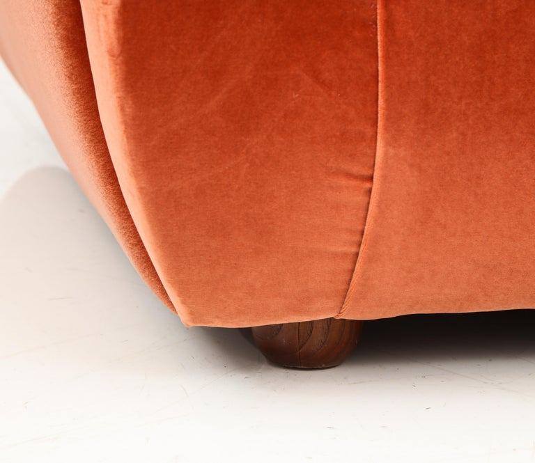 Pair of 1960s Ico Parisi Style Sculptural Italian Lounge Chairs in Rust Velvet For Sale 5
