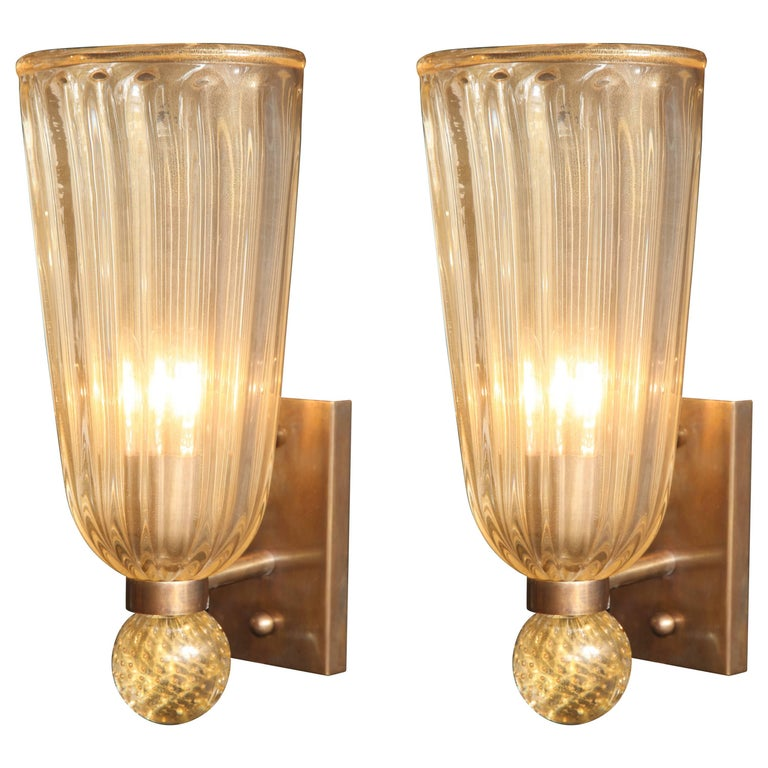 Pair of Italian Gold Infused Murano Glass and Brass Sconces For Sale
