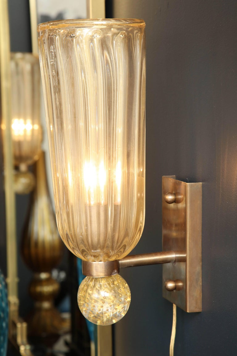 Pair of Italian Gold Infused Murano Glass and Brass Sconces For Sale 1