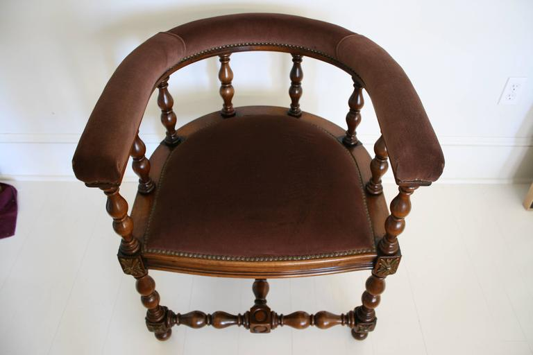 19th Century Pair of Barrel Back Jacobean Style Oak Armchairs with Chocolate Velvet Upholster For Sale