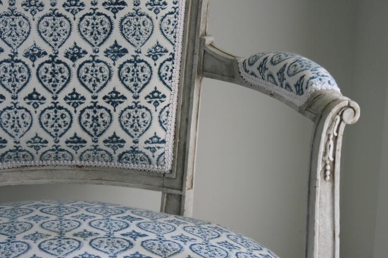 Wood Late 19th Century French Empire Style Painted Armchair in French-Indie Fabric For Sale