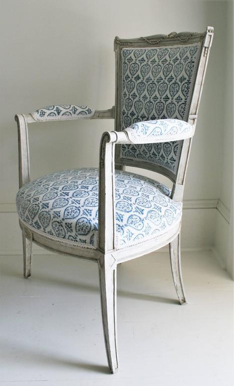 Late 19th Century French Empire Style Painted Armchair in French-Indie Fabric For Sale 5