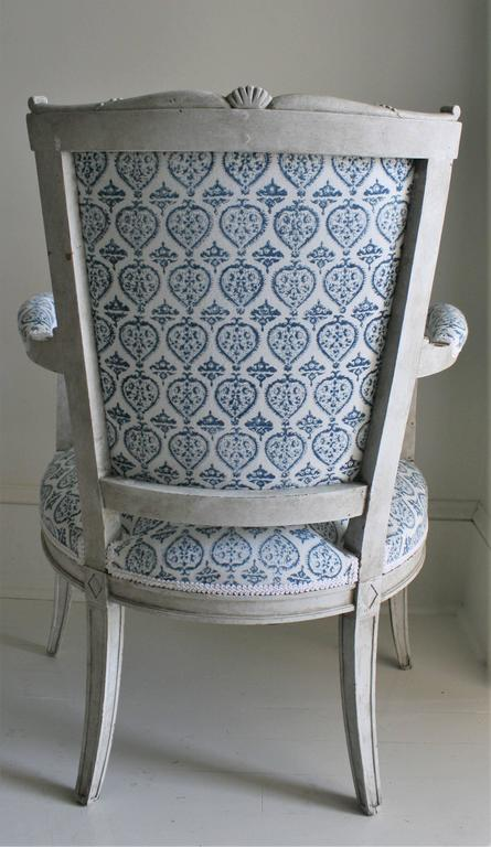 Late 19th Century French Empire Style Painted Armchair in French-Indie Fabric For Sale 6