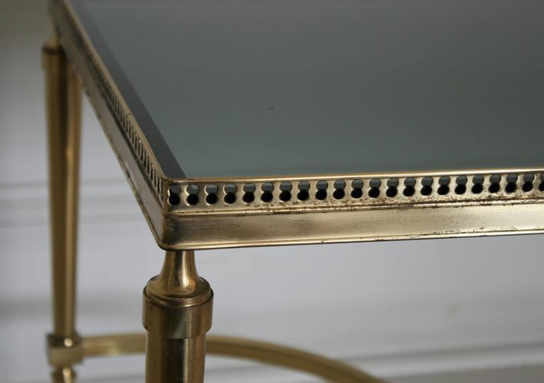 Neoclassical French Vintage Cocktail or Coffee Table in Solid Brass with Smoked Glass For Sale